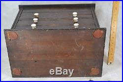 Antique box drawers wooden chest lift top jewelry collections 14 in 1800