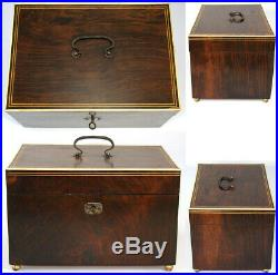 Antique c. 1820-40 Georgian Era Rosewood 10.5 Jewelry, Sewing or Work Box