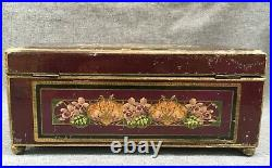 Antique french Napoleon III jewelry makeup box painted wood brass 19th century