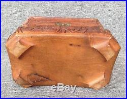 Antique french wood jewelry box 19th century Napoleon III angel fish monogram