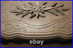 Antique ornate 1800's hand carved wooden German Black Forrest jewelry box jar