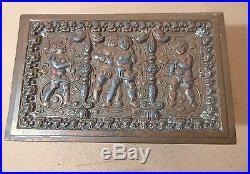 Antique ornate figural gilt bronzed cherub cigarette vanity humidor jewelry box