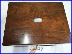 Antique rose wood veneer traveling vanity jewellery box with mother of pearl inl
