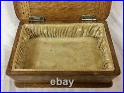 Antique solid silver & wooden oak jewellery / trinket box