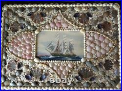 Antique valentine sailors sea shell keepsake box