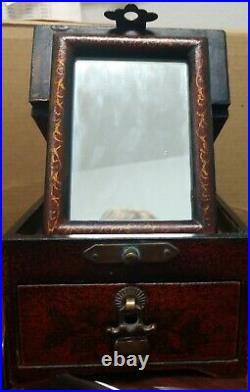Antique/vintage Laquer wood Chinese Cosmetic folding mirror jewelry vanity box