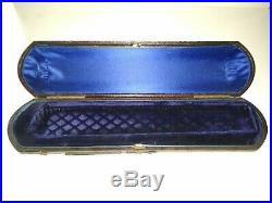 Antique wood, leather, velvet, and silk. Jewelry box. Victorian probably england
