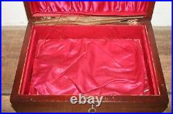Antique wooden cigar box chest jewelry document lock & key handmade masculine