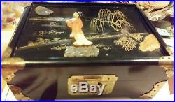 Antq. Chinese Lacquer Wood inlay Shoushan stone & jade withold lock Jewelry Box