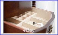 Armoire Jewelry Box Storage Cabinet Organizer Drawers Necklace Watch Wood Stand