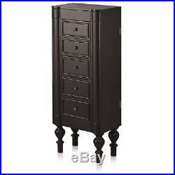 Armoire Jewelry Cabinet Box Storage Chest Stand Necklace Organizer Black NEW