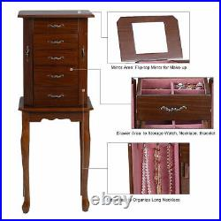 Armoire Jewelry Cabinet Box Storage Chest Stand Organizer Necklace Wood NEW