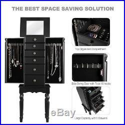 Armoire Storage Box Chest Standing Jewelry Cabinet Black 13.5 x 9.5 x 37.5 US