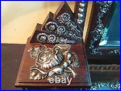 Art Deco Jewellery Box Vanity Dressing Table Miniature Rose Wood Silver Rare