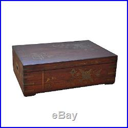 Art Nouveau Wood Jewelry Box with Copper & Brass inlay Antique Late 19th Cen