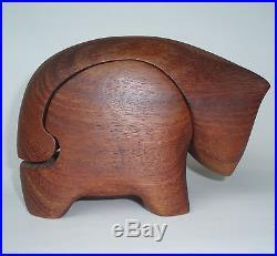Artist Signed Wooden Cat Trinket Jewelry Puzzle Box Deborah D. Bump 1978 Kitteh