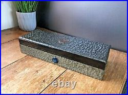 Arts & Crafts Hammered Pewter Cabochon Glove Jewellery Box Liberty Ruskin Style
