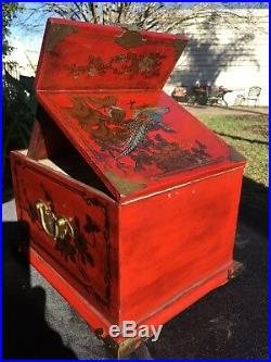 Authentic Antique Large Jewelry Box Trunk Chest Mirror 3 Drawers 19-th Century