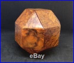 Authentic Vintage Burl wood Desk Accessory Dodecahedron Decorative Box