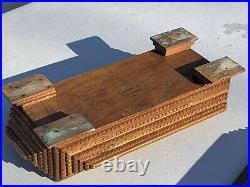 BEST Antique TRAMP ART BOX JEWELRY BOX
