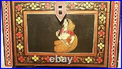 BOX vtg indian apothecary spice jewelry casket antique wood painting art islamic
