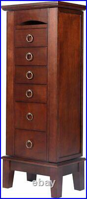 BUY JOY Wood Jewelry Cabinet Armoire Storage Box Chest Stand Organizer Necklace