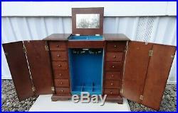 Beautifu Vintage Large Dresser Top Wood Jewelry Box Mirror 12 drawer 19 x 17
