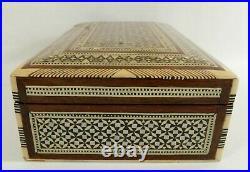 Beautiful 8 Egyptian Handmade Paua Mother of Pearl Inlaid Wood Jewelry Box