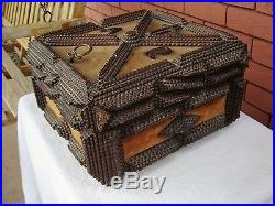 Beautiful Antique Large Wood Carving Tramp Art Jewelry Trinket Box with Frame