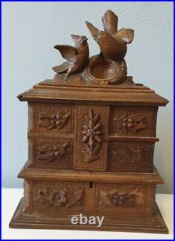 Beautiful Black Forest Carved Bird Jewelry Box