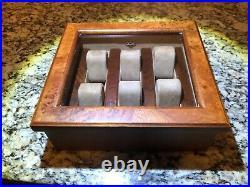 Beautiful Rare Agresti Briarwood Glass-Top Watch Box
