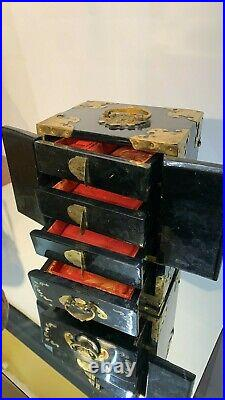 Beautiful Vintage Chinese Oriental Jewellery Box With Mother Of Pearl Inlay (C3)