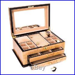 Bey Berk Birdseye Maple Lacquered Wood 3 Level Jewelry Box