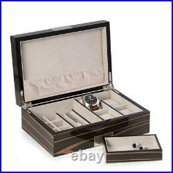 Bey-Berk JEWELRY Box Multi Purpose VALET Box Lacquered Wood Ebony