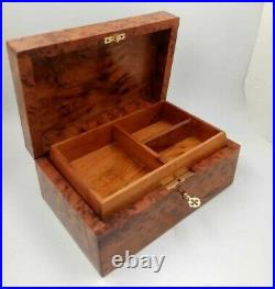 Big Wooden Jewelry Box Inlaid With Mother Of Pearl, Decorative Lock Storage Box