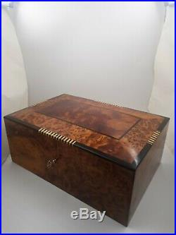 Big Wooden Jewelry Box, Thuya Wood Box With Two Storage Level, Decorative Lock Box