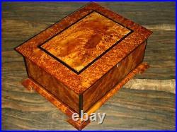 Big Wooden Jewelry Box, Thuya Wood Box With Two Storage Level, Large Jewelry Box