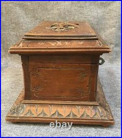 Big antique black forest jewelry box made of wood early 1900's Germany woodwork