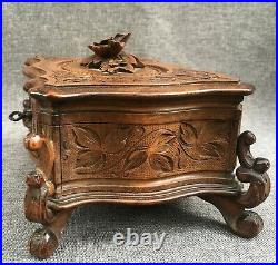 Big antique black forest jewelry box made of wood mid-1900's Germany woodwork