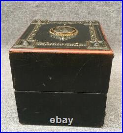 Big antique french Napoleon III jewelry box 19th century wood bronze ornaments