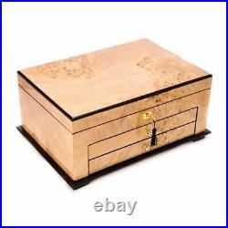 Birdseye Maple Lacquered Wood 3 Level Jewelry Box