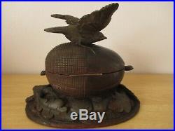 Black Forest Bird Acorn Jewelry Trinket Box Wood Carving Swiss Jewellery
