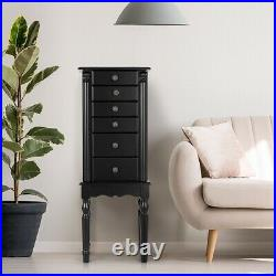 Black Wood Jewelry Armoire 6-Drawer Storage Chest with Mirror