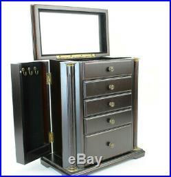 Bombay Company Jewelry Chest Box LARGE Mahogany Tone Wood Neoclassical Columns