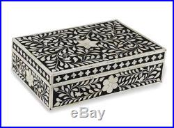 Bone Inlay Wooden Modern Antique Handmade Jewelry Box Handmade Black