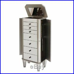 Bowery Hill Mirrored Jewelry Armoire in Silver Wood