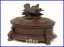 Boxset Jewelry Box Wood Carved Black Forest Bird Napoleon III 19th