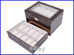 Brown Leather 20 Grid Jewelry Watch Display Organizer Glass Top Box Case Large