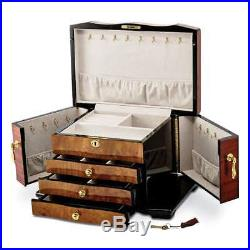 Bubinga (African Rosewood) withElm Burl Inlay 3 Drawer Swing-out Sides Jewelry Box