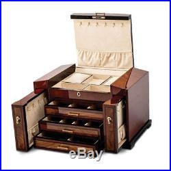 Bubinga Veneer with Elm Burl Inlay 3-Drawer with Slide-out Sides Jewelry Box